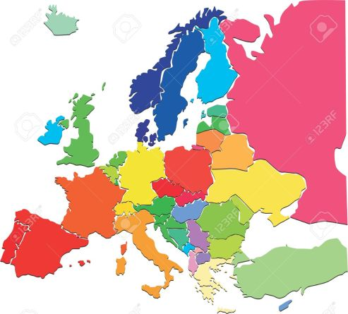 20005204-Colorful-Europe-map-Stock-Photo